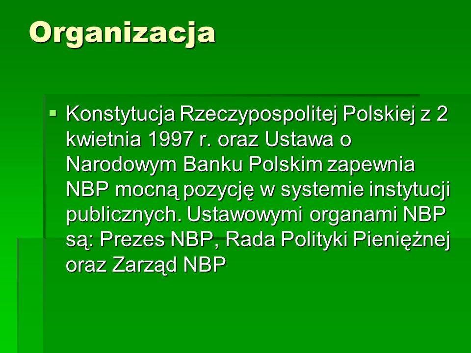 Organizacja Konstytucja Rzeczypospolitej Polskiej z 2 kwietnia 1997 r. oraz Ustawa o Narodowym Banku Polskim zapewnia NBP mocną pozycję w systemie ins