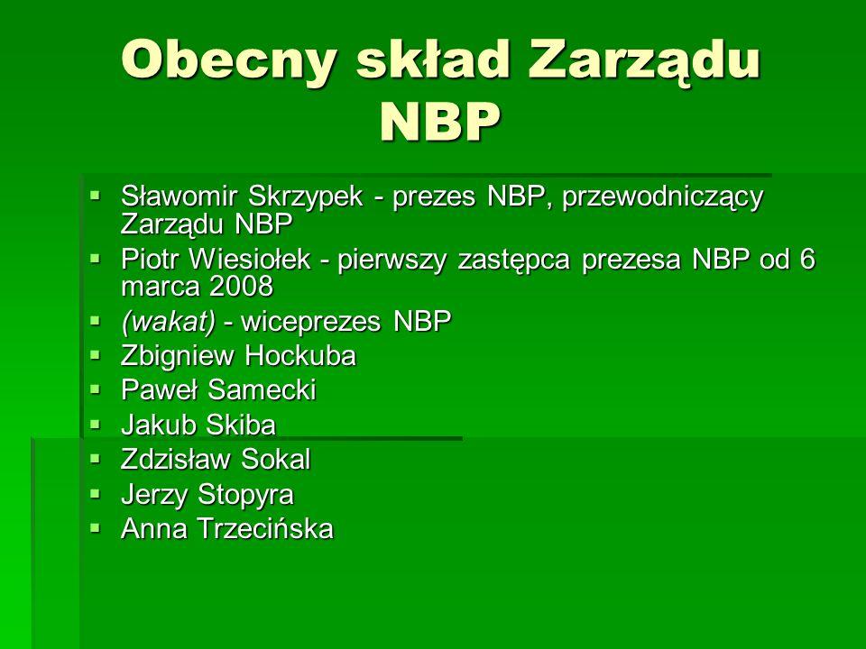 Obecny skład Zarządu NBP Sławomir Skrzypek - prezes NBP, przewodniczący Zarządu NBP Sławomir Skrzypek - prezes NBP, przewodniczący Zarządu NBP Piotr W