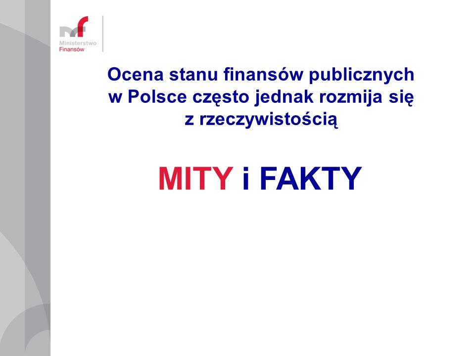 Deficyt musi być obniżony nie do 3%, lecz 1% PKB (MTO - średniookresowy cel budżetowy): warunek stabilności finansowej i zabezpieczenia środków UE W okresie spowolnienia Polska byłaby poddana procedurze nadmiernego deficytu ryzyko utraty funduszy spójności Saldo sektora w czasie ożywienia i spowolnienia gospodarczego MTO = -1% PKB