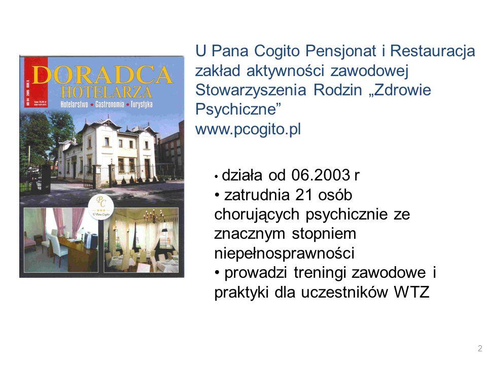 U Pana Cogito Pensjonat i Restauracja zakład aktywności zawodowej Stowarzyszenia Rodzin Zdrowie Psychiczne www.pcogito.pl działa od 06.2003 r zatrudni