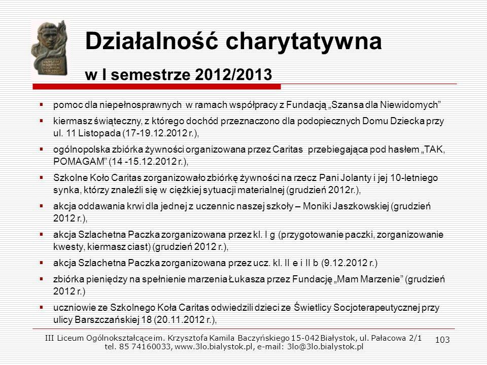 103 Działalność charytatywna w I semestrze 2012/2013 pomoc dla niepełnosprawnych w ramach współpracy z Fundacją Szansa dla Niewidomych kiermasz świąte