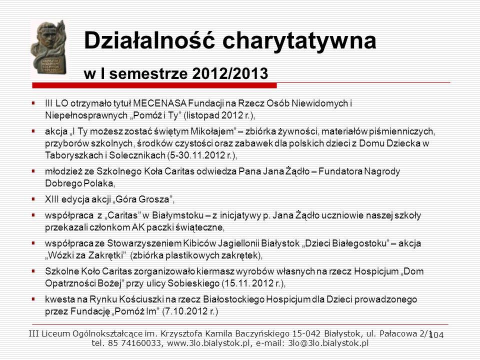 104 Działalność charytatywna w I semestrze 2012/2013 III LO otrzymało tytuł MECENASA Fundacji na Rzecz Osób Niewidomych i Niepełnosprawnych Pomóż i Ty