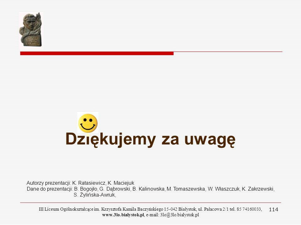 Dziękujemy za uwagę 114 Autorzy prezentacji: K. Ratasiewicz, K. Maciejuk Dane do prezentacji: B. Bogojło, G. Dąbrowski, B. Kalinowska, M. Tomaszewska,