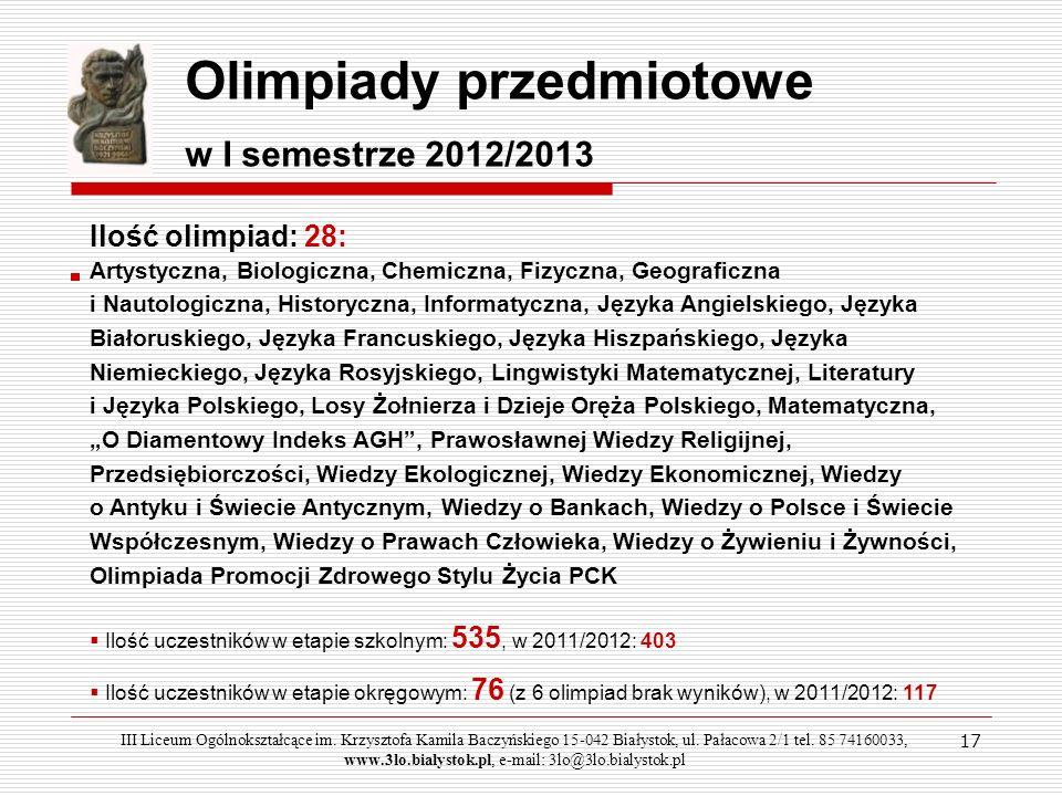 Olimpiady przedmiotowe w I semestrze 2012/2013 Ilość olimpiad: 28: Artystyczna, Biologiczna, Chemiczna, Fizyczna, Geograficzna i Nautologiczna, Histor