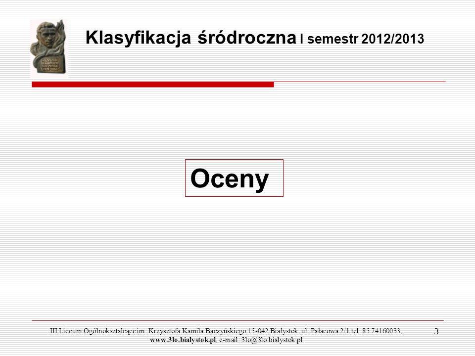 14 III Liceum Ogólnokształcące im.Krzysztofa Kamila Baczyńskiego 15-042 Białystok, ul.