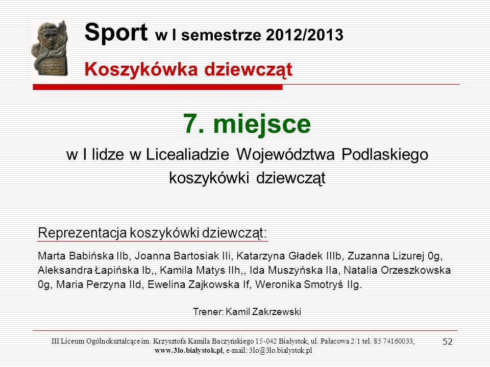 52 Sport w I semestrze 2012/2013 Koszykówka dziewcząt III Liceum Ogólnokształcące im. Krzysztofa Kamila Baczyńskiego 15-042 Białystok, ul. Pałacowa 2/