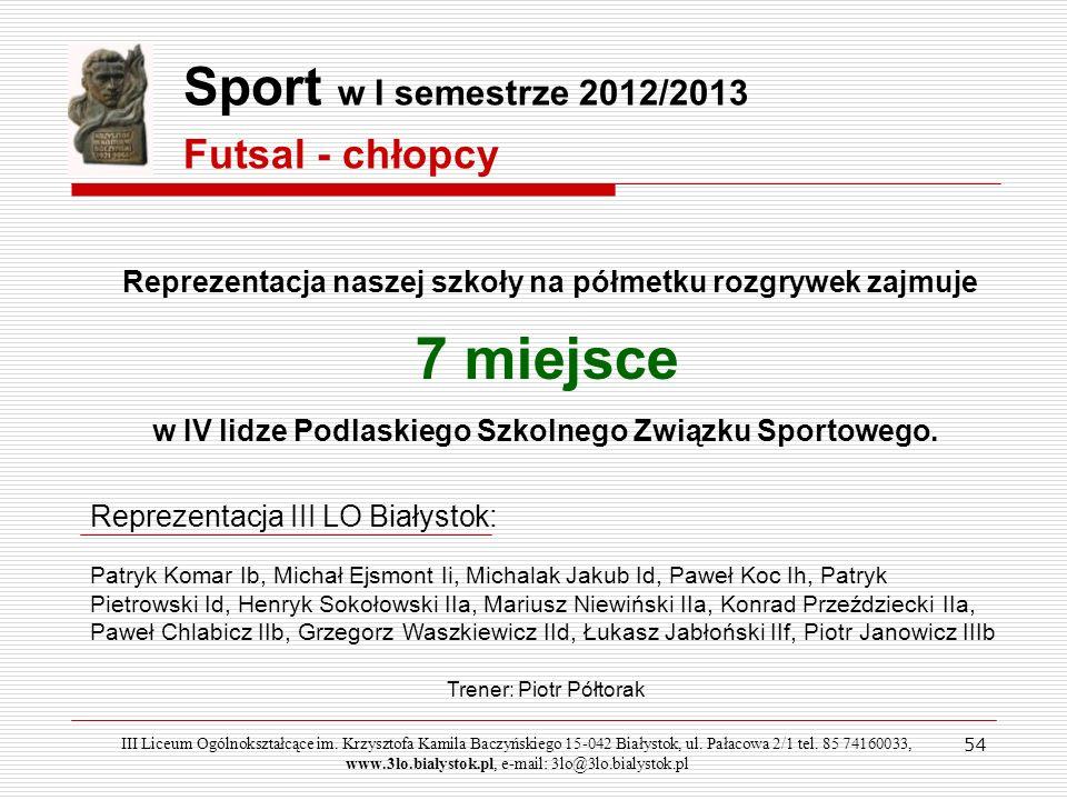 54 Sport w I semestrze 2012/2013 Reprezentacja naszej szkoły na półmetku rozgrywek zajmuje 7 miejsce w IV lidze Podlaskiego Szkolnego Związku Sportowe