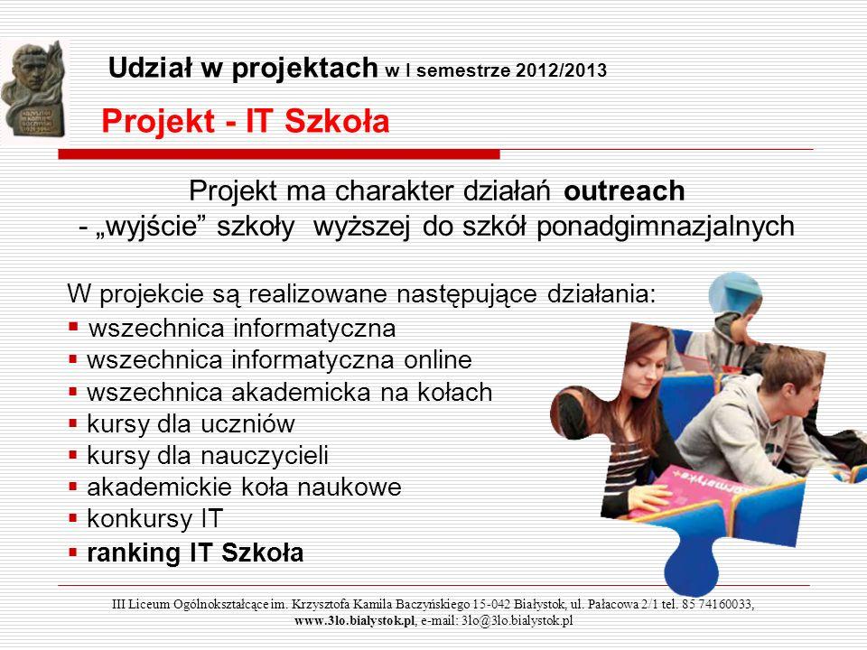 Projekt - IT Szkoła Projekt ma charakter działań outreach - wyjście szkoły wyższej do szkół ponadgimnazjalnych W projekcie są realizowane następujące