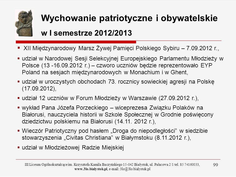 99 Wychowanie patriotyczne i obywatelskie w I semestrze 2012/2013 XII Międzynarodowy Marsz Żywej Pamięci Polskiego Sybiru – 7.09.2012 r., udział w Nar