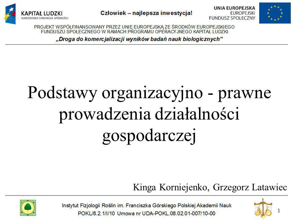 1 Podstawy organizacyjno - prawne prowadzenia działalności gospodarczej Kinga Korniejenko, Grzegorz Latawiec