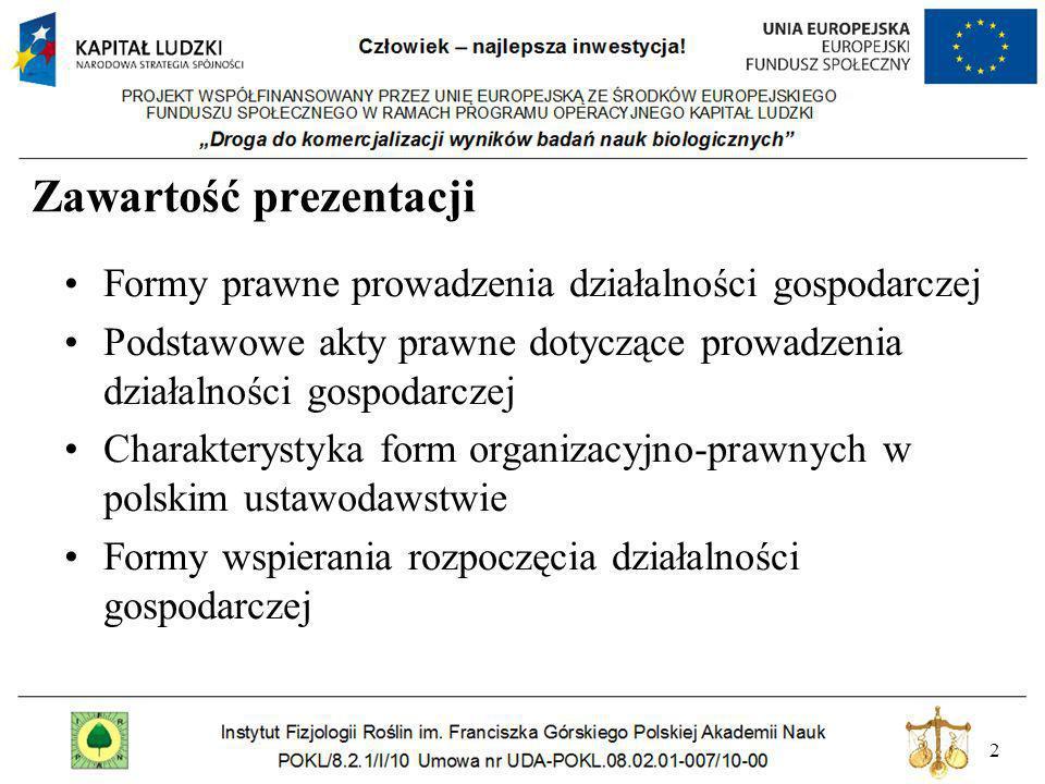 3 Struktura podmiotów gospodarczych Źródło: www.stat.gov.pl (dane za rok 2007 ) Najwięcej przedsiębiorców funkcjonuje jako osoby fizyczne.