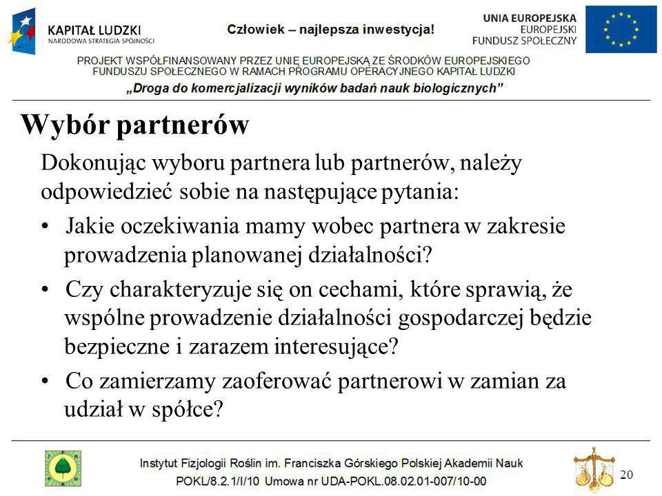 20 Wybór partnerów Dokonując wyboru partnera lub partnerów, należy odpowiedzieć sobie na następujące pytania: Jakie oczekiwania mamy wobec partnera w