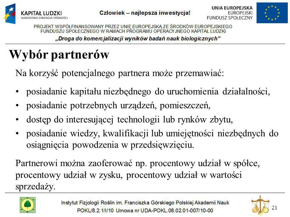 21 Wybór partnerów Na korzyść potencjalnego partnera może przemawiać: posiadanie kapitału niezbędnego do uruchomienia działalności, posiadanie potrzeb