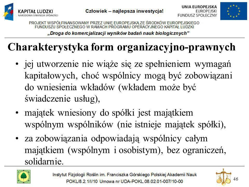46 Charakterystyka form organizacyjno-prawnych jej utworzenie nie wiąże się ze spełnieniem wymagań kapitałowych, choć wspólnicy mogą być zobowiązani d