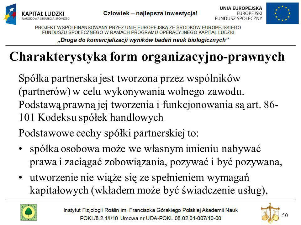 50 Charakterystyka form organizacyjno-prawnych Spółka partnerska jest tworzona przez wspólników (partnerów) w celu wykonywania wolnego zawodu. Podstaw