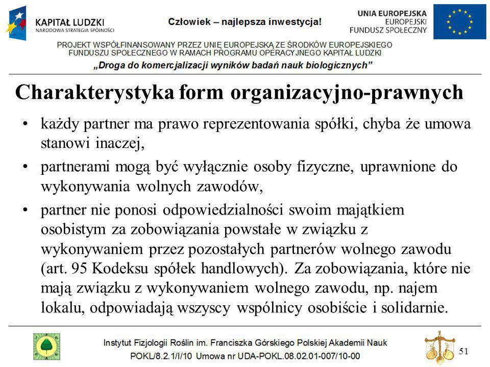 51 Charakterystyka form organizacyjno-prawnych każdy partner ma prawo reprezentowania spółki, chyba że umowa stanowi inaczej, partnerami mogą być wyłą