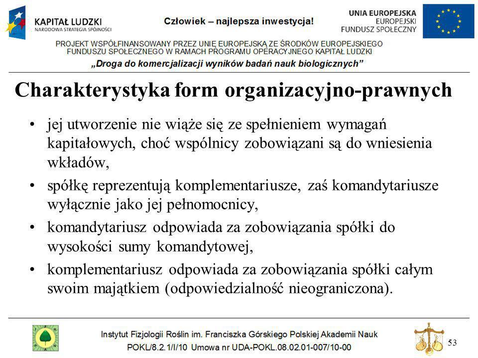 53 Charakterystyka form organizacyjno-prawnych jej utworzenie nie wiąże się ze spełnieniem wymagań kapitałowych, choć wspólnicy zobowiązani są do wnie