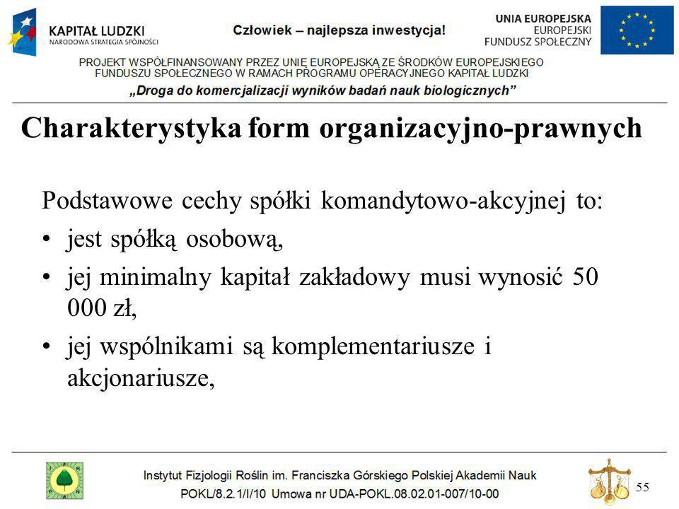 55 Charakterystyka form organizacyjno-prawnych Podstawowe cechy spółki komandytowo-akcyjnej to: jest spółką osobową, jej minimalny kapitał zakładowy m