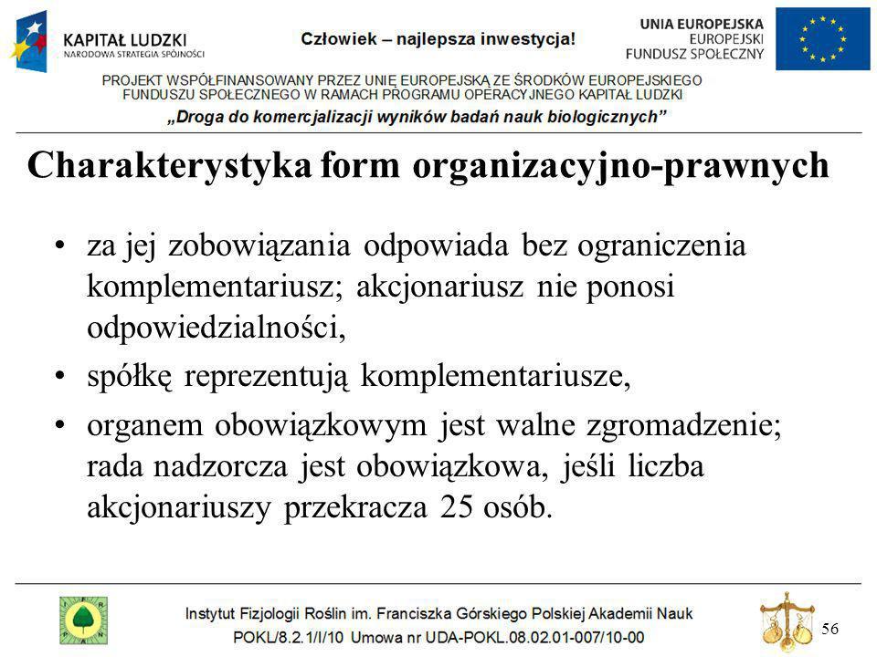 56 Charakterystyka form organizacyjno-prawnych za jej zobowiązania odpowiada bez ograniczenia komplementariusz; akcjonariusz nie ponosi odpowiedzialno