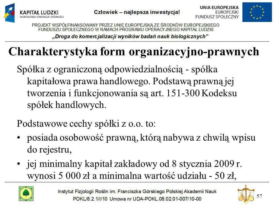 57 Charakterystyka form organizacyjno-prawnych Spółka z ograniczoną odpowiedzialnością - spółka kapitałowa prawa handlowego. Podstawą prawną jej tworz