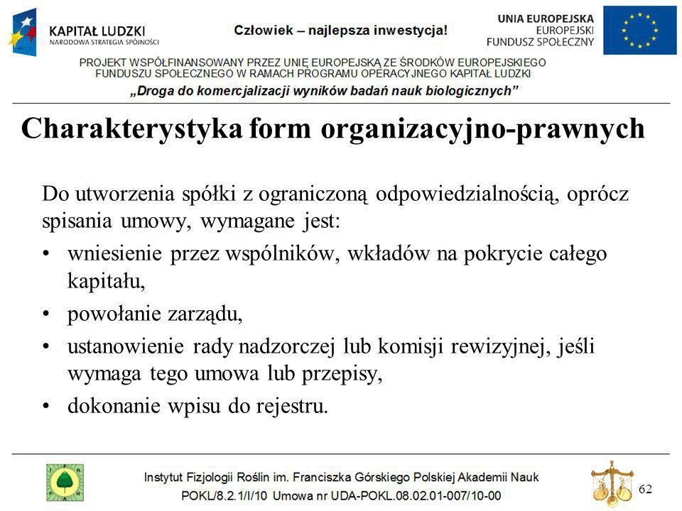 62 Charakterystyka form organizacyjno-prawnych Do utworzenia spółki z ograniczoną odpowiedzialnością, oprócz spisania umowy, wymagane jest: wniesienie