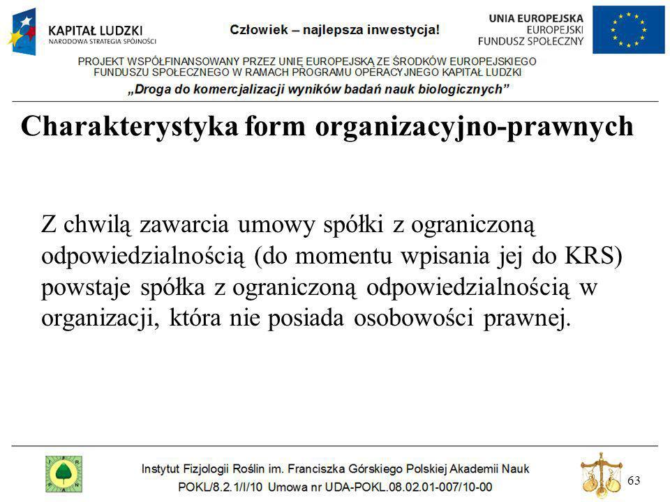 63 Charakterystyka form organizacyjno-prawnych Z chwilą zawarcia umowy spółki z ograniczoną odpowiedzialnością (do momentu wpisania jej do KRS) powsta