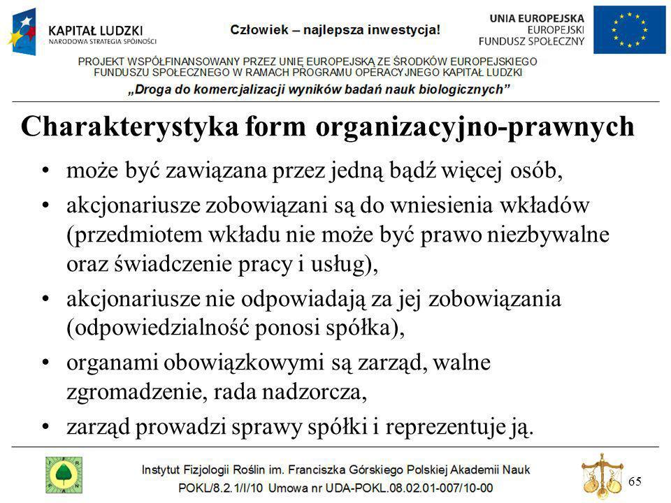 65 Charakterystyka form organizacyjno-prawnych może być zawiązana przez jedną bądź więcej osób, akcjonariusze zobowiązani są do wniesienia wkładów (pr