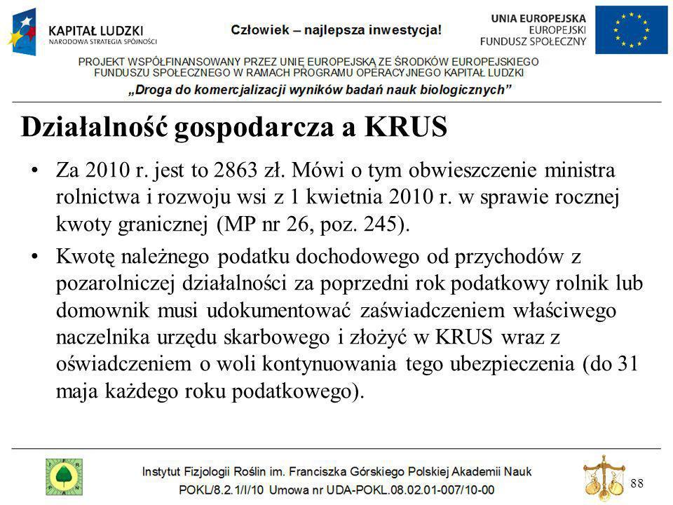 88 Działalność gospodarcza a KRUS Za 2010 r. jest to 2863 zł. Mówi o tym obwieszczenie ministra rolnictwa i rozwoju wsi z 1 kwietnia 2010 r. w sprawie
