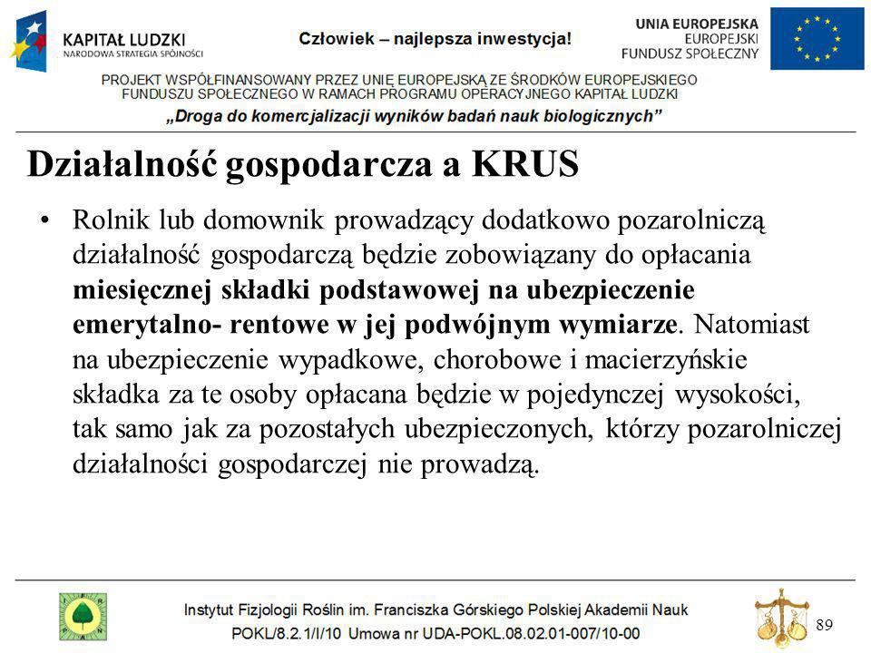 89 Działalność gospodarcza a KRUS Rolnik lub domownik prowadzący dodatkowo pozarolniczą działalność gospodarczą będzie zobowiązany do opłacania miesię