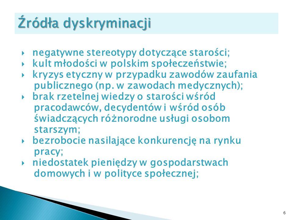 negatywne stereotypy dotyczące starości; kult młodości w polskim społeczeństwie; kryzys etyczny w przypadku zawodów zaufania publicznego (np. w zawoda