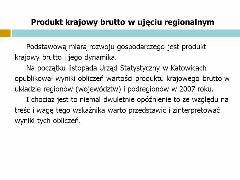 Produkt krajowy brutto w ujęciu regionalnym Podstawową miarą rozwoju gospodarczego jest produkt krajowy brutto i jego dynamika. Na początku listopada