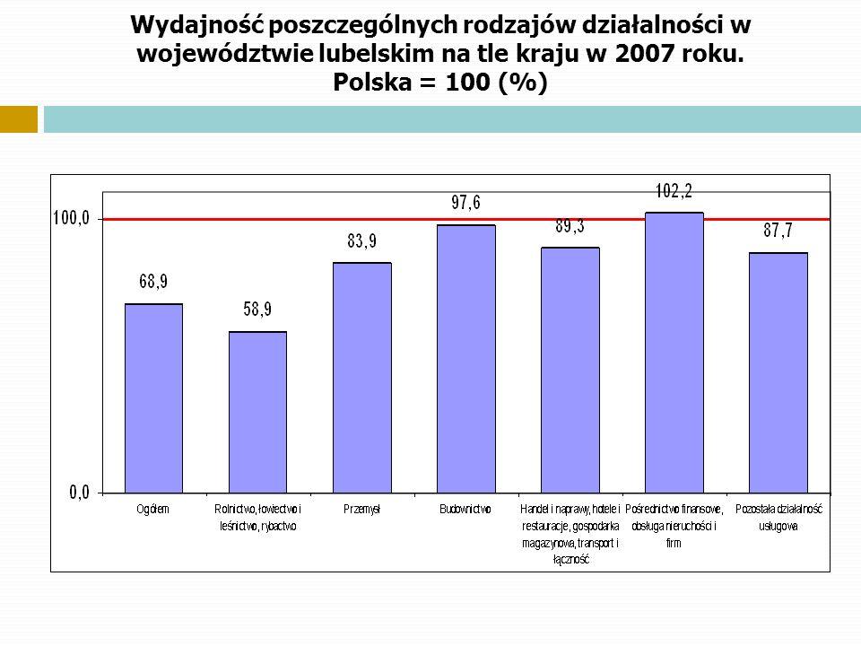 Wydajność poszczególnych rodzajów działalności w województwie lubelskim na tle kraju w 2007 roku. Polska = 100 (%)