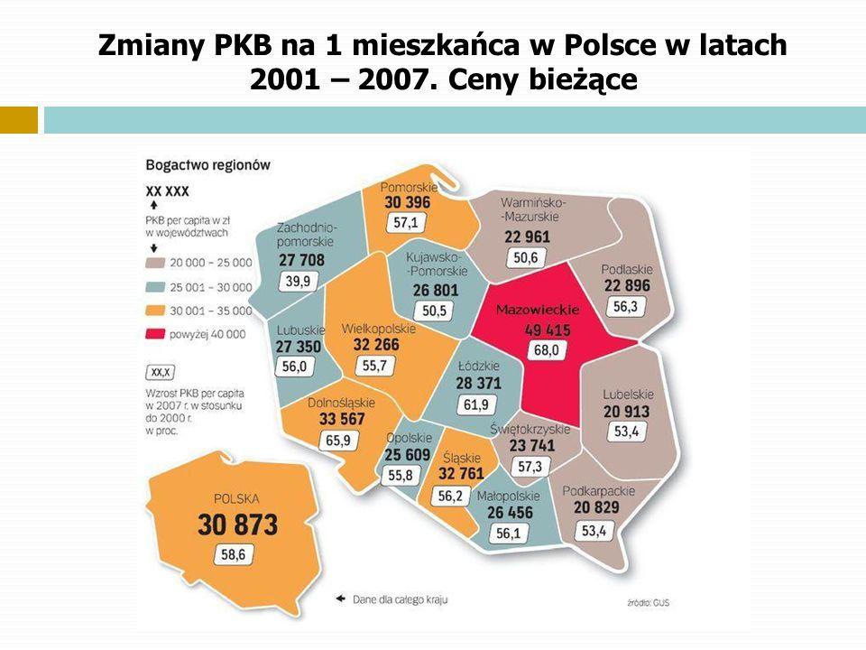 Zmiany PKB na 1 mieszkańca w Polsce w latach 2001 – 2007. Ceny bieżące