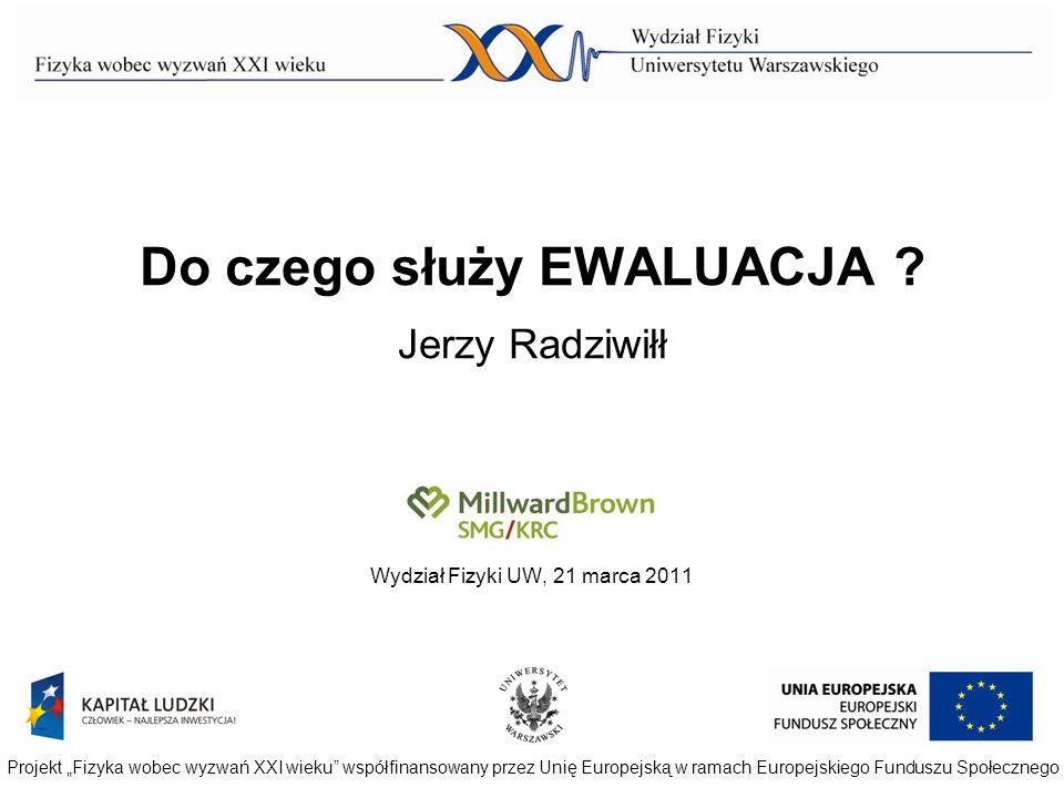Do czego służy EWALUACJA ? Jerzy Radziwiłł Wydział Fizyki UW, 21 marca 2011 Projekt Fizyka wobec wyzwań XXI wieku współfinansowany przez Unię Europejs