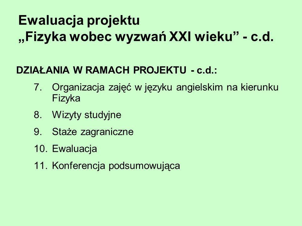 Ewaluacja projektu Fizyka wobec wyzwań XXI wieku - c.d. DZIAŁANIA W RAMACH PROJEKTU - c.d.: 7.Organizacja zajęć w języku angielskim na kierunku Fizyka