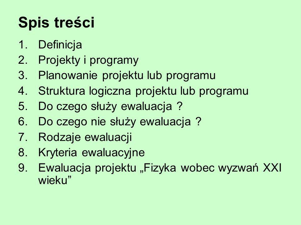 Spis treści 1.Definicja 2.Projekty i programy 3.Planowanie projektu lub programu 4.Struktura logiczna projektu lub programu 5.Do czego służy ewaluacja