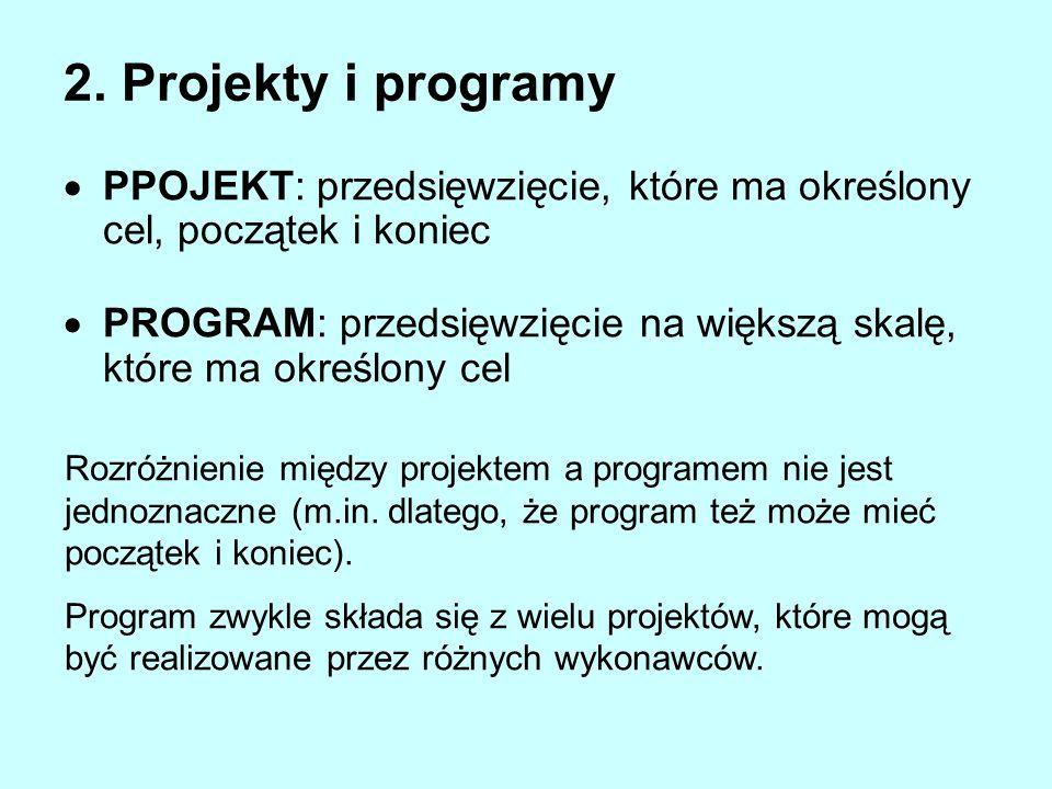 2. Projekty i programy PPOJEKT: przedsięwzięcie, które ma określony cel, początek i koniec PROGRAM: przedsięwzięcie na większą skalę, które ma określo