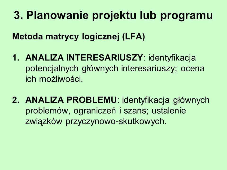 3. Planowanie projektu lub programu Metoda matrycy logicznej (LFA) 1.ANALIZA INTERESARIUSZY: identyfikacja potencjalnych głównych interesariuszy; ocen