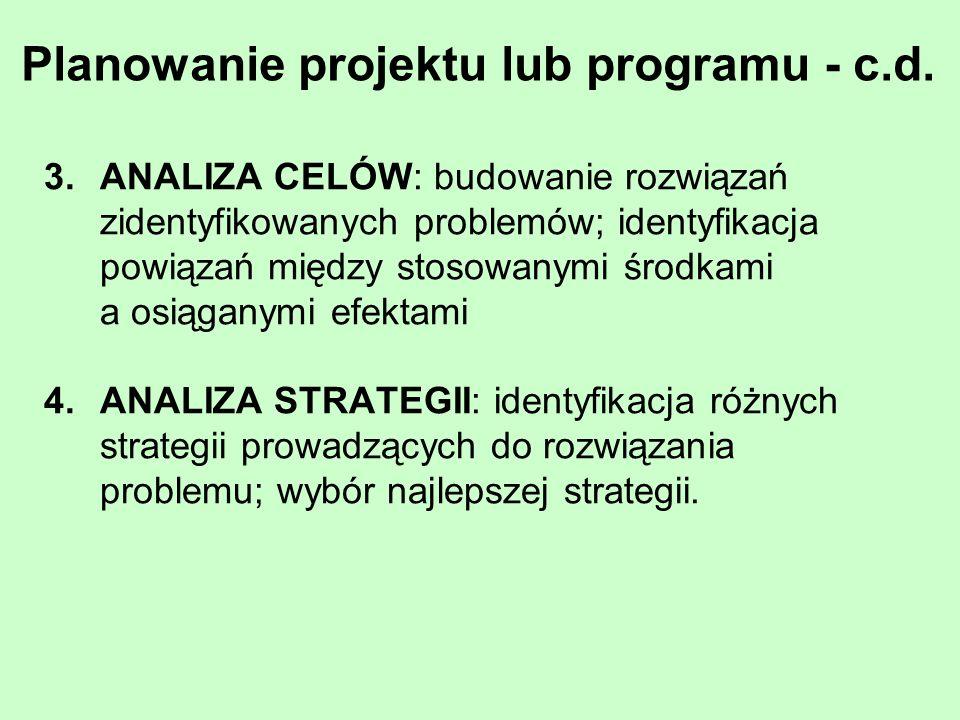 Planowanie projektu lub programu - c.d. 3.ANALIZA CELÓW: budowanie rozwiązań zidentyfikowanych problemów; identyfikacja powiązań między stosowanymi śr