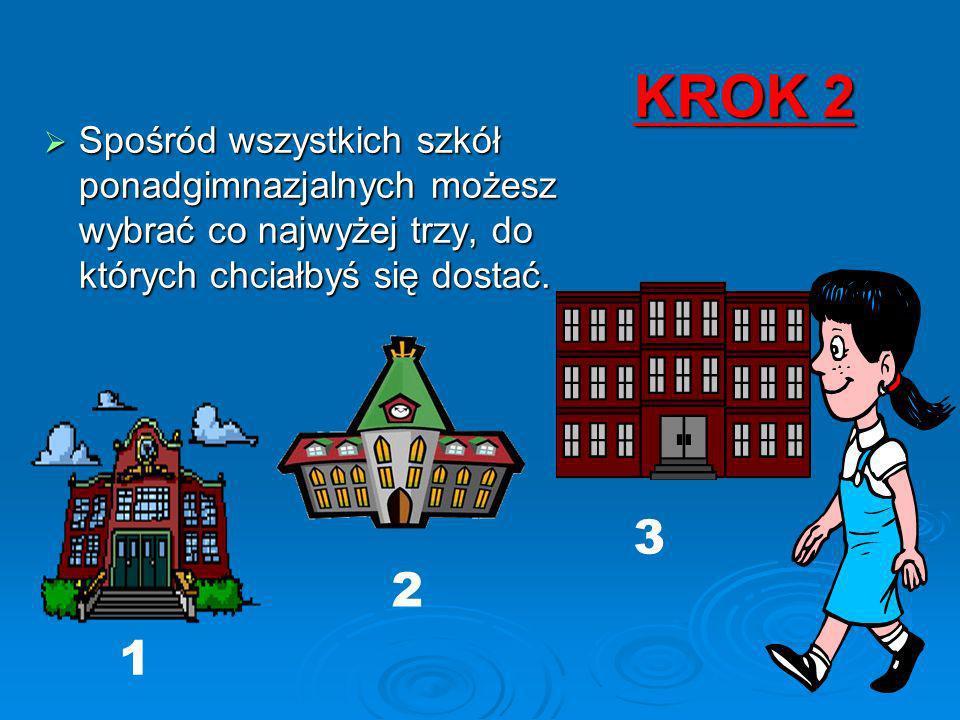 KROK 2 Spośród wszystkich szkół ponadgimnazjalnych możesz wybrać co najwyżej trzy, do których chciałbyś się dostać.