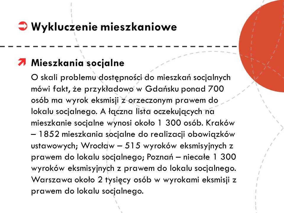 Mieszkania socjalne O skali problemu dostępności do mieszkań socjalnych mówi fakt, że przykładowo w Gdańsku ponad 700 osób ma wyrok eksmisji z orzeczo