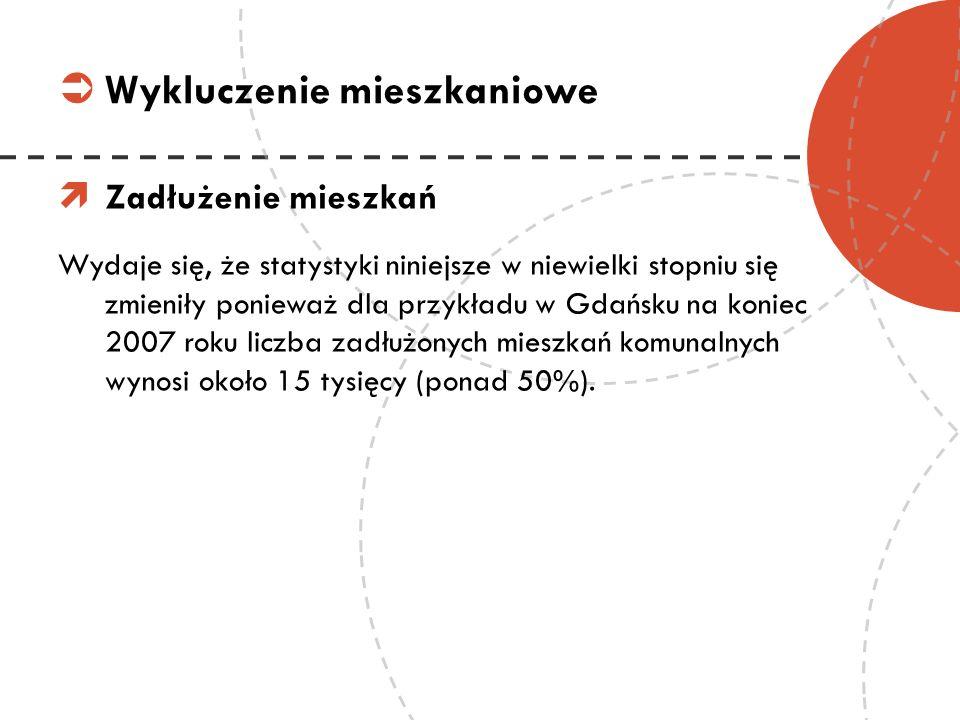 Zadłużenie mieszkań Wydaje się, że statystyki niniejsze w niewielki stopniu się zmieniły ponieważ dla przykładu w Gdańsku na koniec 2007 roku liczba z