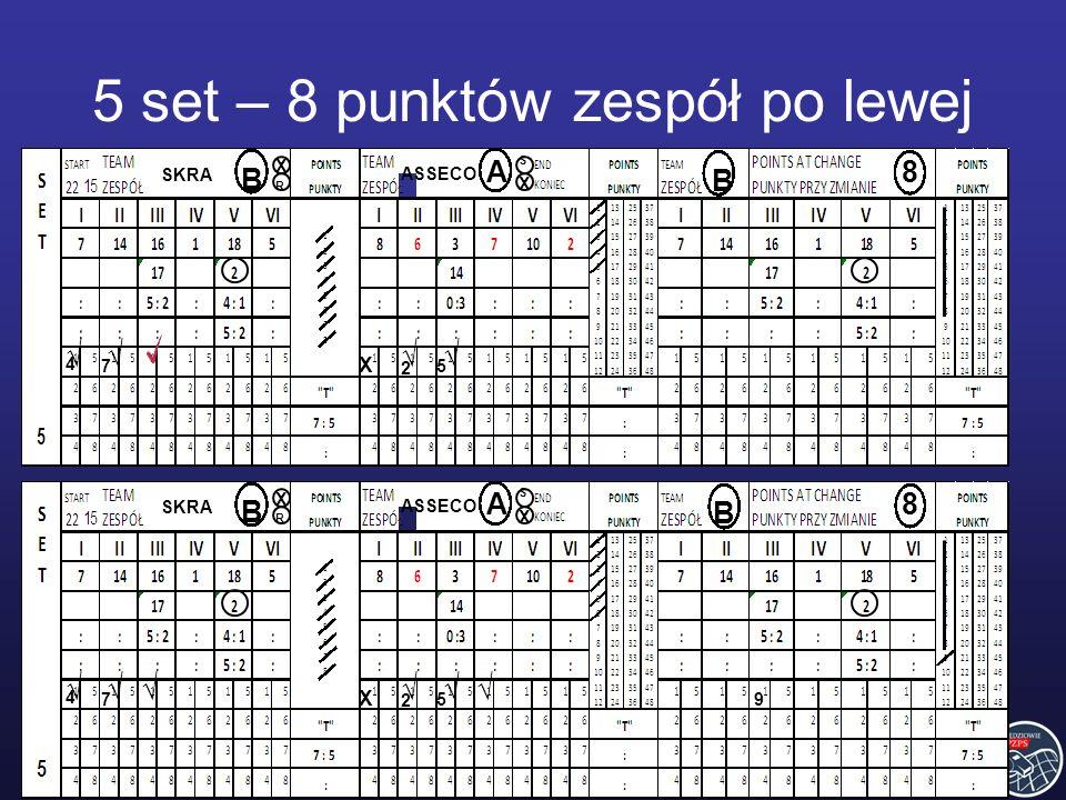 SKRA ASSECO B B A8 4 7 2 5 R S 9 X X X SKRA ASSECO B B A8 4 7 2 5 R S X X X 5 set – 8 punktów zespół po lewej