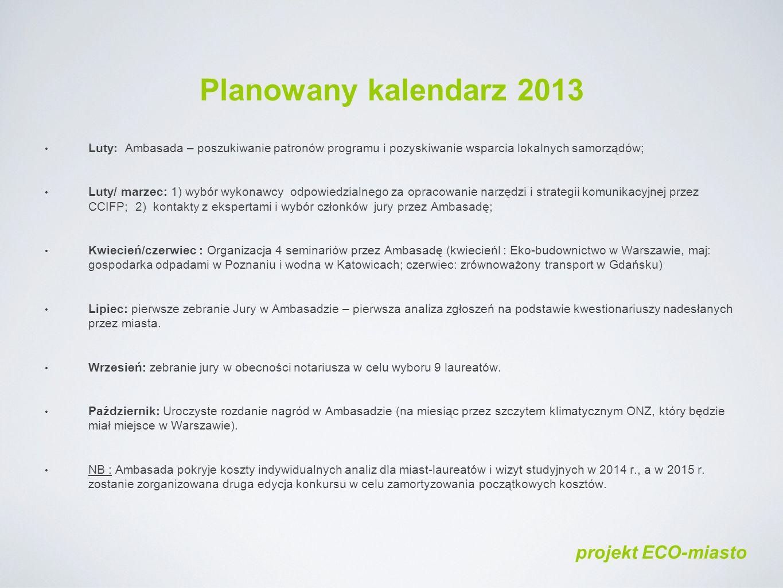 Planowany kalendarz 2013 Luty: Ambasada – poszukiwanie patronów programu i pozyskiwanie wsparcia lokalnych samorządów; Luty/ marzec: 1) wybór wykonawcy odpowiedzialnego za opracowanie narzędzi i strategii komunikacyjnej przez CCIFP; 2) kontakty z ekspertami i wybór członków jury przez Ambasadę; Kwiecień/czerwiec : Organizacja 4 seminariów przez Ambasadę (kwiecieńl : Eko-budownictwo w Warszawie, maj: gospodarka odpadami w Poznaniu i wodna w Katowicach; czerwiec: zrównoważony transport w Gdańsku) Lipiec: pierwsze zebranie Jury w Ambasadzie – pierwsza analiza zgłoszeń na podstawie kwestionariuszy nadesłanych przez miasta.