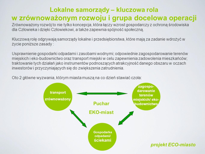 Lokalne samorządy – kluczowa rola w zrównoważonym rozwoju i grupa docelowa operacji Zrównoważony rozwój to nie tylko koncepcja, która łączy wzrost gospodarczy z ochroną środowiska dla Człowieka i dzięki Człowiekowi, a także zapewnia spójność społeczną.