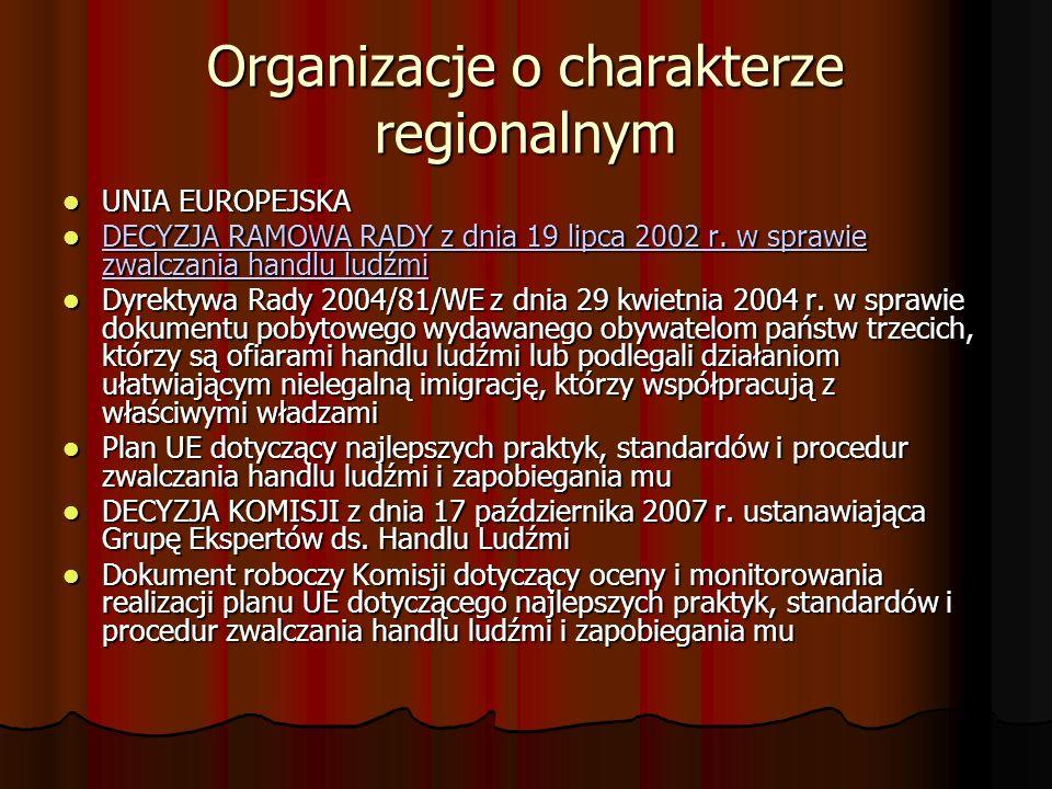Organizacje o charakterze regionalnym UNIA EUROPEJSKA UNIA EUROPEJSKA DECYZJA RAMOWA RADY z dnia 19 lipca 2002 r. w sprawie zwalczania handlu ludźmi D