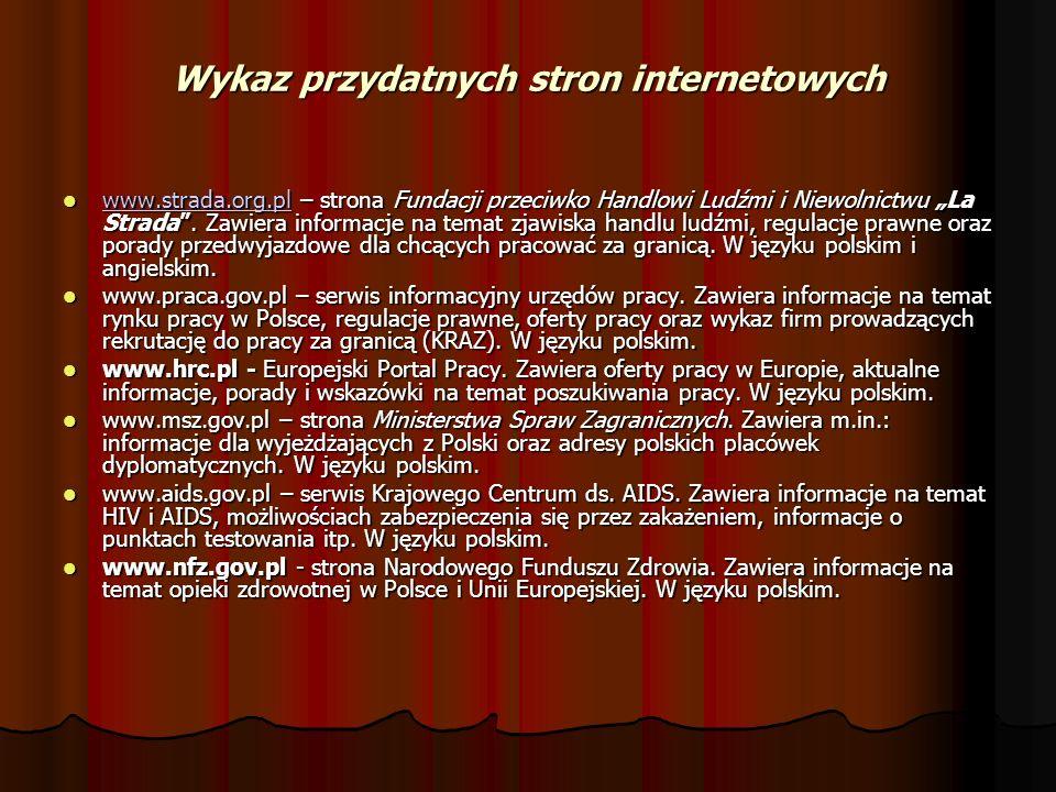 Wykaz przydatnych stron internetowych www.strada.org.pl – strona Fundacji przeciwko Handlowi Ludźmi i Niewolnictwu La Strada. Zawiera informacje na te