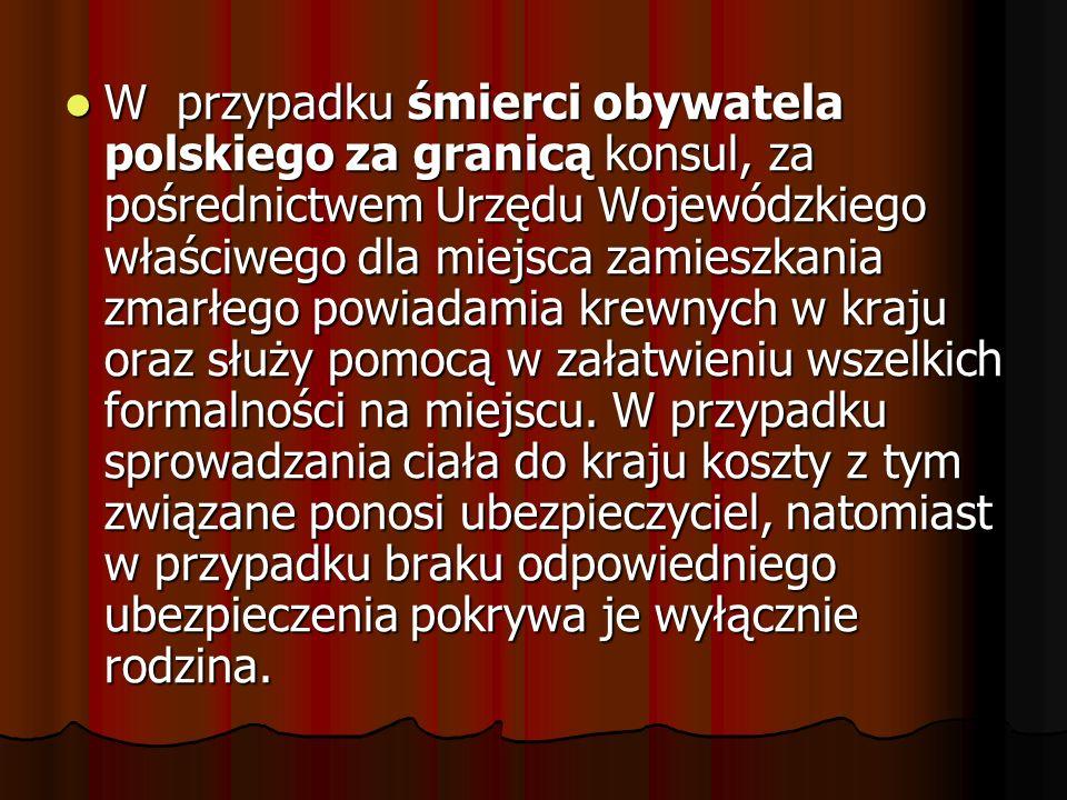W przypadku śmierci obywatela polskiego za granicą konsul, za pośrednictwem Urzędu Wojewódzkiego właściwego dla miejsca zamieszkania zmarłego powiadam