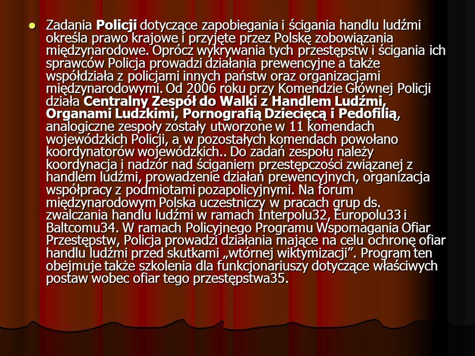 Zadania Policji dotyczące zapobiegania i ścigania handlu ludźmi określa prawo krajowe i przyjęte przez Polskę zobowiązania międzynarodowe. Oprócz wykr