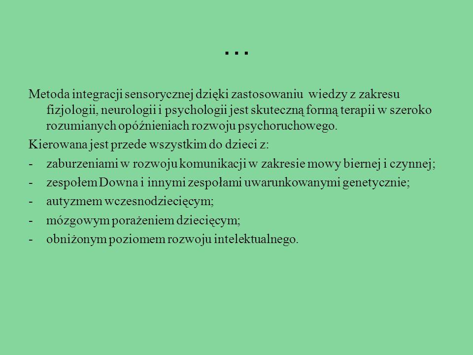 … Metoda integracji sensorycznej dzięki zastosowaniu wiedzy z zakresu fizjologii, neurologii i psychologii jest skuteczną formą terapii w szeroko rozu
